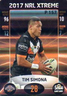 2017 NRL Xtreme Parallel P157 Tim Simona Wests Tigers