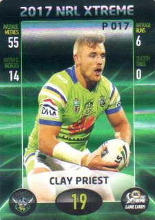 2017 NRL Xtreme Parallel P17 Clay Priest Raiders