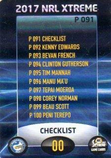 2017 NRL Xtreme Parallel P91 Parramatta Eels Checklist
