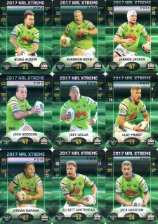 2017 NRL Xtreme Parallel Team Set Canberra Raiders