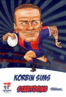2017 NRL Traders Startoons Album Version STA9 Korbin Sims Knights