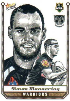 2007 NRL Champions Sketch Card #SK30 Simon Mannering Warriors