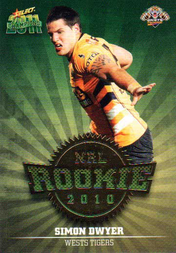 2011 NRL Champions Rookie 2010 #R55 Simon Dwyer Tigers