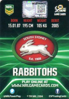 2017 ESP NRL Xtreme Game Cards Authenticated Signature Card Greg Inglis Rabbitohs