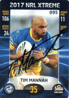 2017 ESP NRL Xtreme Game Cards Authenticated Signature Card Tim Mannah Eels