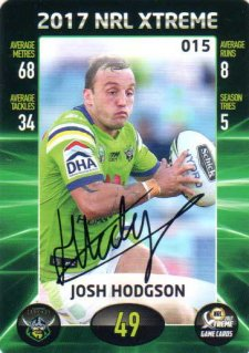 2017 ESP NRL Xtreme Game Cards Authenticated Signature Card Josh Hodgson Raiders
