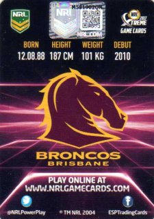 2017 ESP NRL Xtreme Game Cards Authenticated Signature Card Matt Gillett Broncos