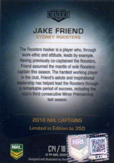 2016 NRL Elite 2016 Captains *Artist Signed* Jake Friend Roosters