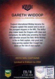 2016 NRL Elite 2016 Captains *Artist Signed* Gareth Widdop Dragons