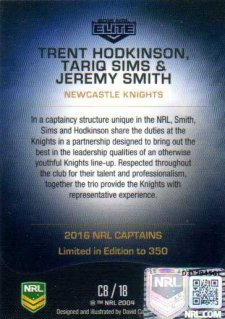 2016 NRL Elite 2016 Captains *Artist Signed* Hodkinson Sims Smith Knights