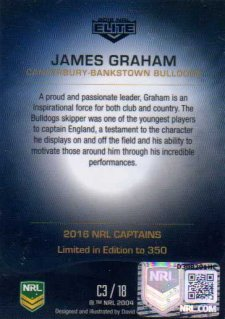 2016 NRL Elite 2016 Captains *Artist Signed* James Graham Bulldogs