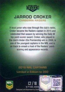 2016 NRL Elite 2016 Captains *Artist Signed* Jarrod Croker Raiders