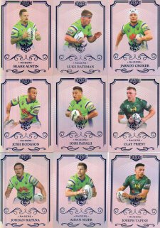 2017 NRL Elite Silver Special Parallel 10-Card Team Set Canberra Raiders