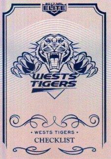 2017 NRL Elite Silver Special Parallel 10-Card Team Set Wests Tigers