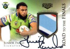 2017 NRL Elite Road to the Finals Jersey Signature RFS1 Junior Paulo Raiders #46/50