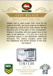 2017 NRL Elite League Sensations Signature LS12 Cody Walker Rabbitohs #116/130