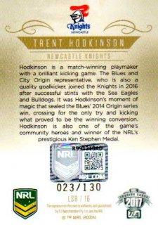 2017 NRL Elite League Sensations Signature LS8 Trent Hodkinson Knights #23/130