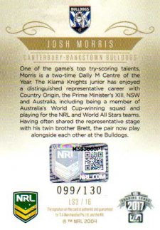2017 NRL Elite League Sensations Signature LS3 Josh Morris Bulldogs #99/130
