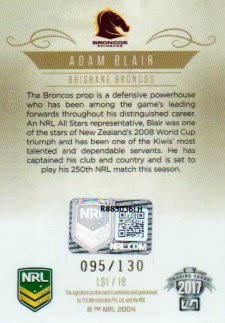 2017 NRL Elite League Sensations Signature LS1 Adam Blair Broncos #95/130