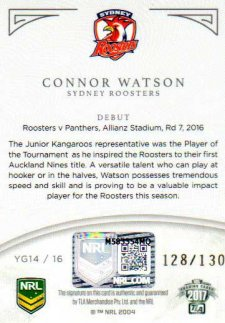 2017 NRL Elite Young Guns Signature YG14 Connor Watson Roosters #128/130