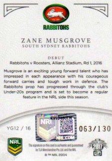 2017 NRL Elite Young Guns Signature YG12 Zane Musgrove Rabbitohs #63/130