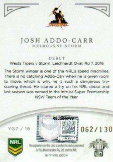 2017 NRL Elite Young Guns Signature YG7 Josh Addo-Carr Storm #62/130