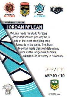 2017 NRL Elite All Stars Parallel ASP10 Jordan Mclean Storm #6/100