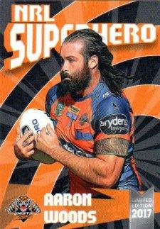2017 NRL Superhero Aaron Woods / James Tedesco 2-Card Team Set Tigers #/100