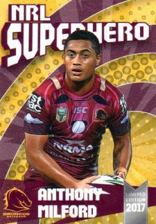 2017 NRL Superhero Sam Thaiday / Anthony Milford / Jordan Kahu 3-Card Team Set Broncos #/100