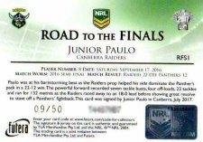 2017 NRL Elite Road to the Finals Jersey Signature RFS1 Junior Paulo Raiders