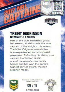 2017 NRL Elite 2017 Captains *Artist Signed* Trent Hodkinson Knights