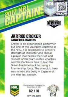 2017 NRL Elite 2017 Captains *Artist Signed* Jarrod Croker Raiders
