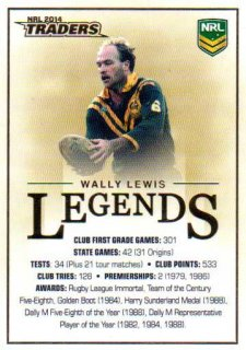 2014 NRL Traders Case Card #CC1 Wally Lewis Broncos