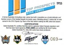 2012 NRL Dynasty Top Prospects Signature TPS5 Ryan James Titans