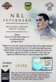 2017 NRL Superhero Limited Edition Jersey Signature SH9 Mitchell Moses Tigers #19/50