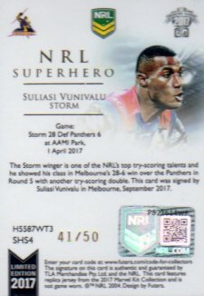 2017 NRL Superhero Limited Edition Jersey Signature SH4 Suliasi Vunivalu Storm #41/50