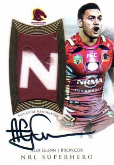 2017 NRL Superhero Limited Edition Jersey Signature SH1 Alex Glenn Broncos