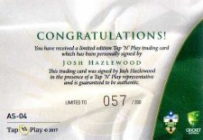 2017/18 Tap n Play Cricket The Ashes Signature Card AS4 Josh Hazelwood #57/200
