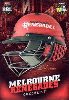 2017/18 BBL Big Bash Cricket Checklist Header Card H4 Melbourne Renegades