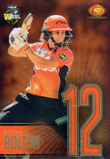 2017/18 BBL Big Bash Cricket Player Numbers GOLD JNG12 Nicole Bolton Scorchers