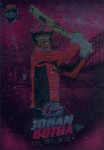 2017/18 BBL Big Bash Cricket Parallel Card 123 Johan Botha Sixers