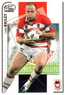 2005 NRL Power Base Card 125 Luke Bailey Dragons