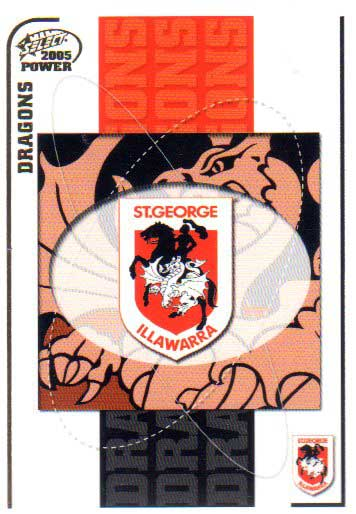 2005 NRL Power Base Card 123 St.George Dragons Checklist