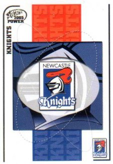2005 NRL Power Base Card 75 Newcastle Knights Header
