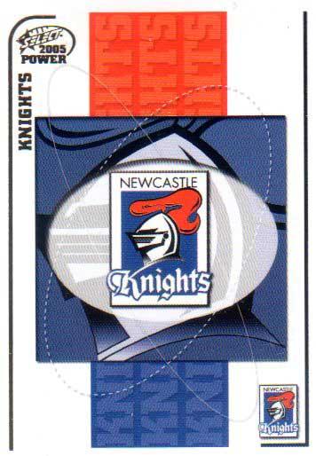 2005 NRL Power Base Card 75 Newcastle Knights Header