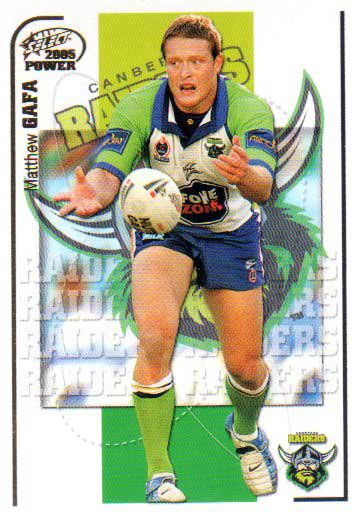 2005 NRL Power Base Card 32 Matthew Gafa Raiders