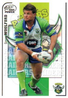 2005 NRL Power Base Card 28 Simon Woolford Raiders