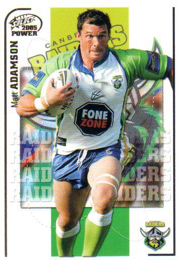 2005 NRL Power Base Card 29 Matt Adamson Raiders