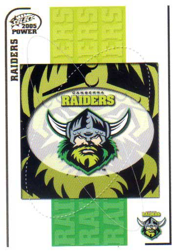 2005 NRL Power Base Card 27 Canberra Raiders Header
