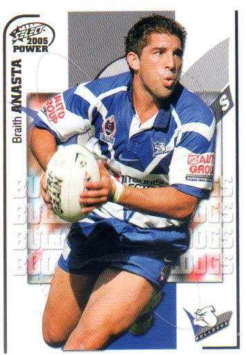 2005 NRL Power Base Card 17 Braith Anasta Bulldogs
